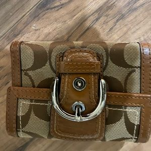 Coach Tan and Brown signature wallet